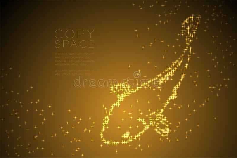 Os peixes brilhantes abstratos da carpa ou do Koi do teste padrão de estrela ilustração de cor do ouro do projeto de conceito dão ilustração do vetor