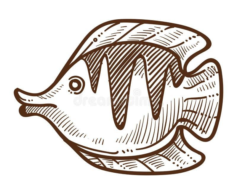 Os peixes chafurdam animal subaquático isolado do esboço com aletas ilustração royalty free