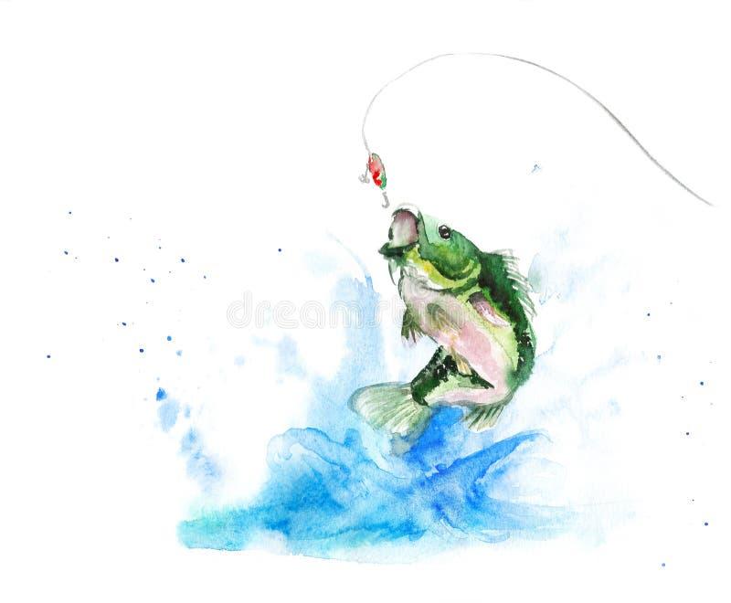 Os peixes da aquarela saltam do comedor com o respingo, pescando a cena ilustração royalty free