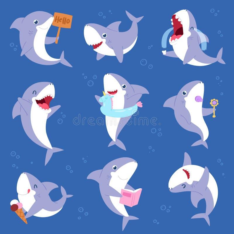 Os peixes do mar dos desenhos animados do vetor do tubarão que sorriem com grupo da ilustração dos dentes afiados de crianças da  ilustração royalty free