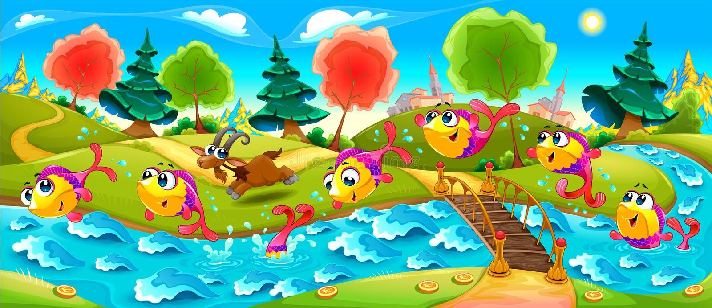 Os peixes felizes estão dançando no rio ilustração royalty free