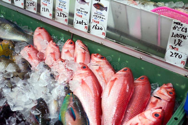 Os peixes frescos são vendidos no mercado de peixes local pequeno, Okinawa, Japão, em fevereiro de 2019 imagem de stock royalty free