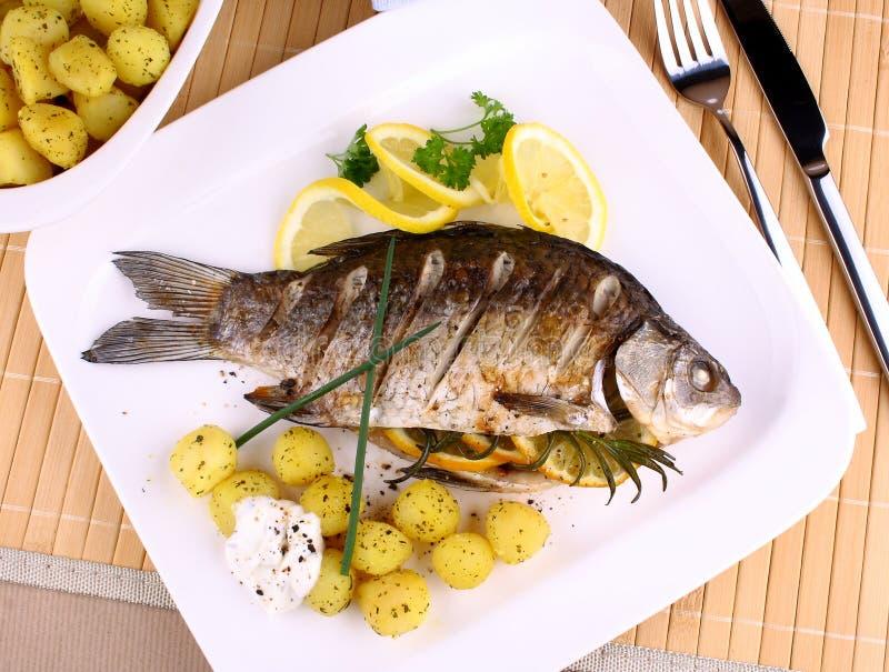 Download Os Peixes Grelhados Seriram Com Batatas, Limão E Molho Foto de Stock - Imagem de dieta, macro: 29833546