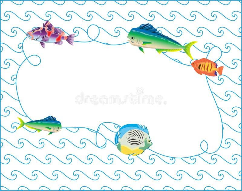 Os peixes moldam a arte azul da garatuja do vetor de ondas ilustração do vetor