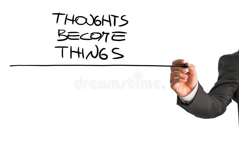Os pensamentos transformam-se coisas imagem de stock royalty free