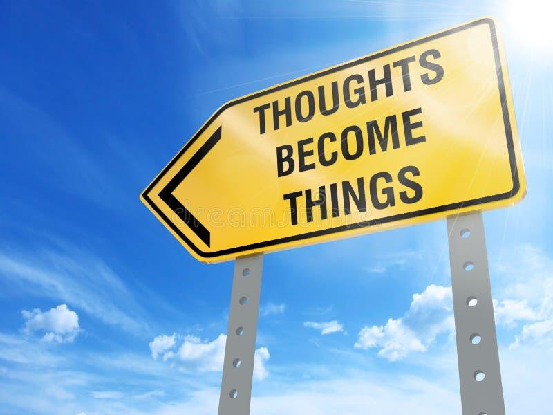 Os pensamentos transformam-se sinal das coisas ilustração stock