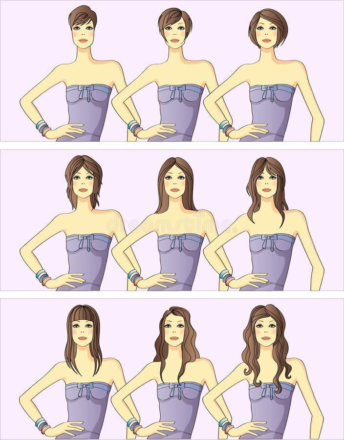 os penteados das mulheres ilustração royalty free