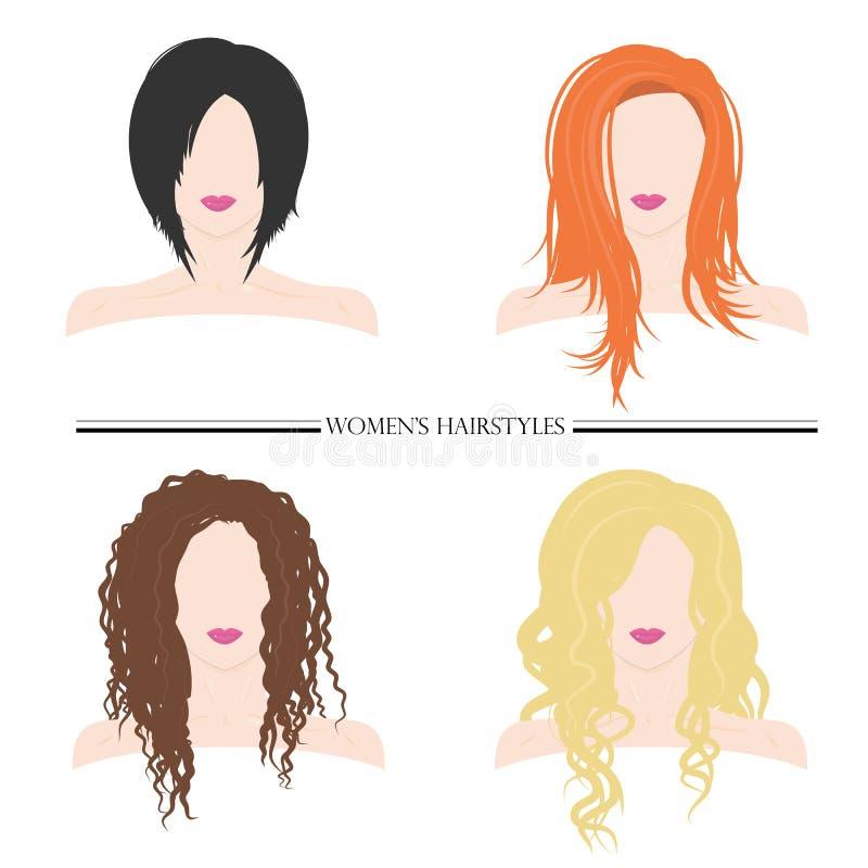 Os penteados das mulheres Tipos de penteados fêmeas Ilustração do vetor ilustração royalty free