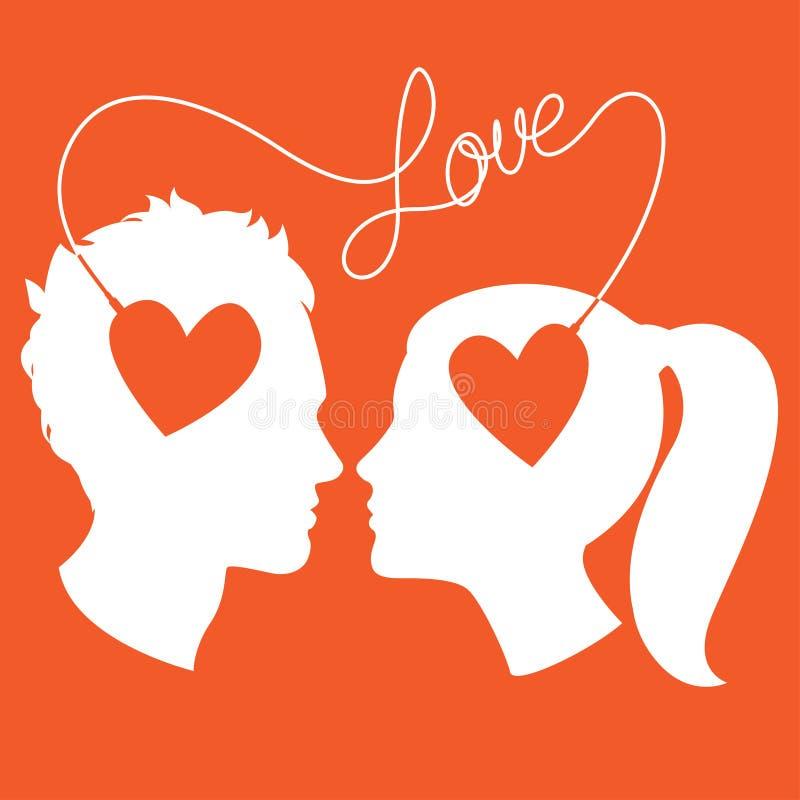 Os perfis do homem e da mulher conectaram pelo fio do amor ilustração royalty free