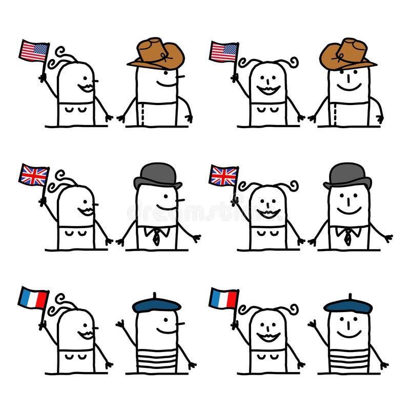 Os personagens de banda desenhada ajustaram 1 - países e tradição ilustração do vetor