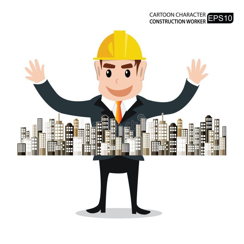 Os personagens de banda desenhada projetam o sucesso em vendas da construção ilustração royalty free
