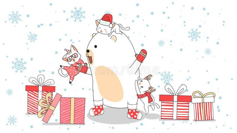 Os personagens de ursos e gatos Kawaii no dia de Natal ilustração stock