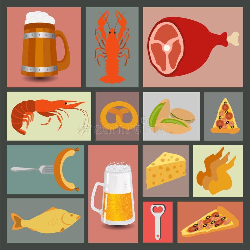 Os petiscos da cerveja, ajustaram ícones para criar seu infographics ilustração do vetor