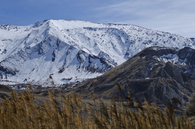 Os picos da neve do Great Salt Lake foto de stock