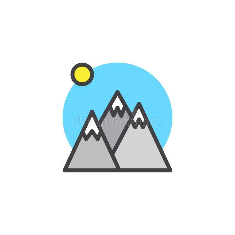 Os picos e o sol de montanha do inverno encheram o ícone do esboço ilustração stock