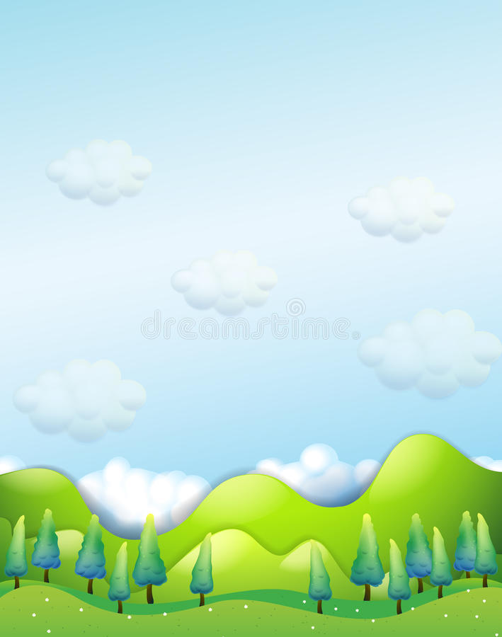 Os pinheiros nos montes ilustração royalty free