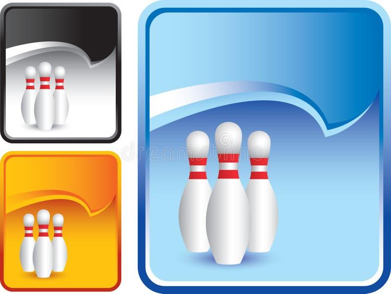 Os pinos de bowling no rasgo azul ondulam o contexto ilustração royalty free