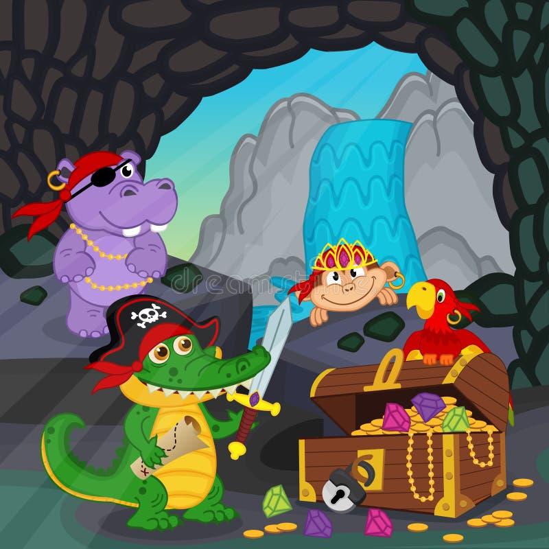 Os piratas encontrados estimam em uma caverna ilustração do vetor