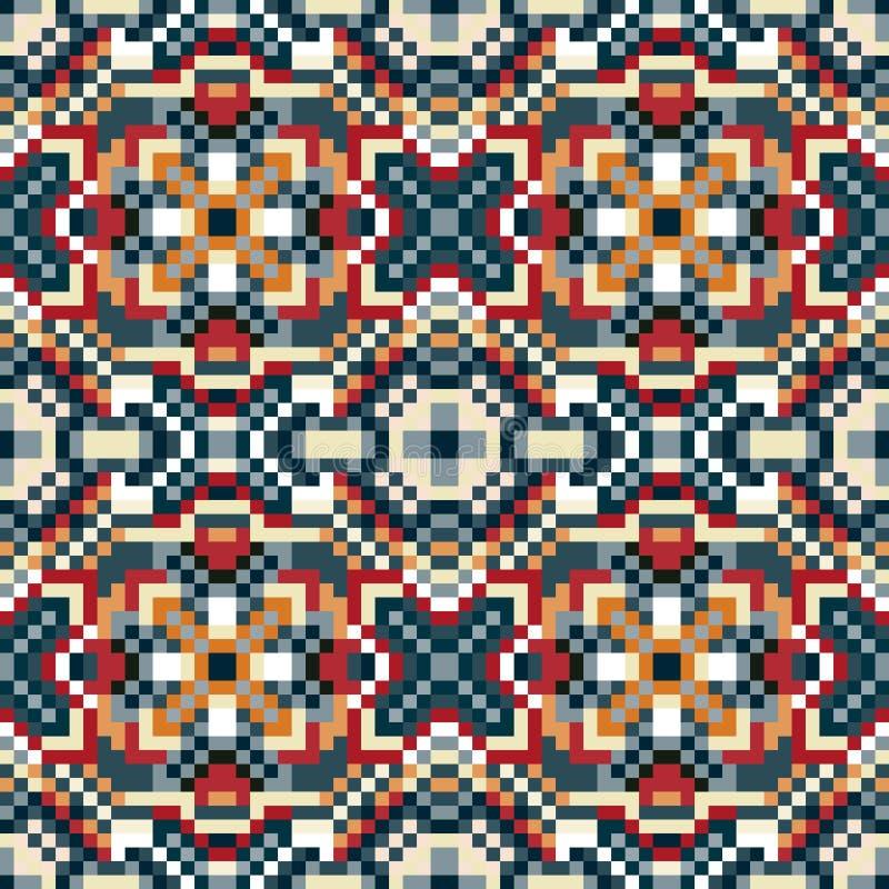 Os pixéis pequenos coloriram a ilustração sem emenda do vetor do teste padrão do fundo geométrico ilustração do vetor