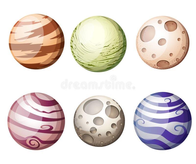Os planetas coloridos da fantasia dos desenhos animados ajustados no fundo do espaço, na página da site da ilustração e no app mó ilustração royalty free