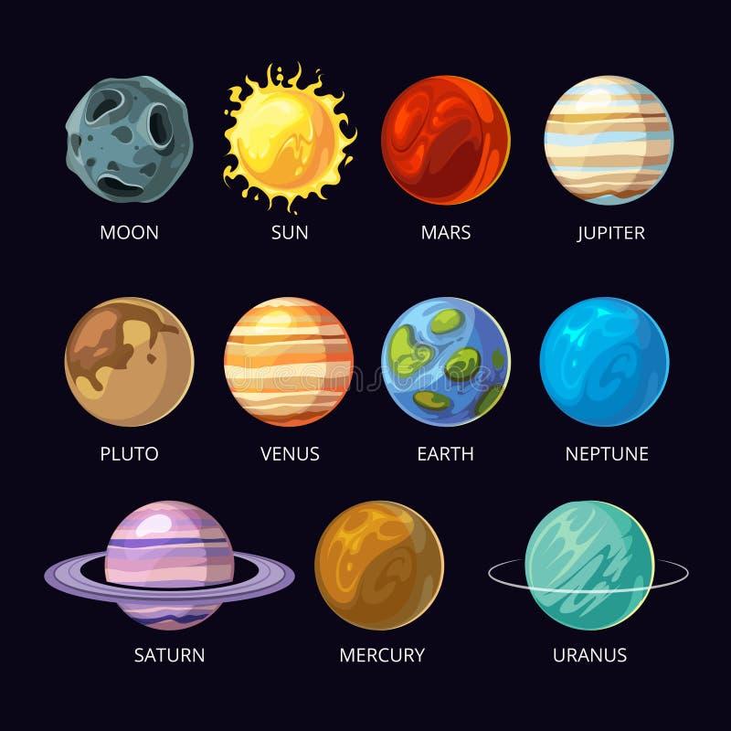 Os planetas de desenhos animados do vetor do sistema solar ajustaram-se no fundo escuro do espaço do céu ilustração stock
