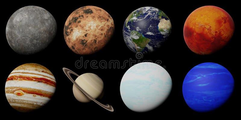 Os planetas do sistema solar isolado no fundo preto fotos de stock
