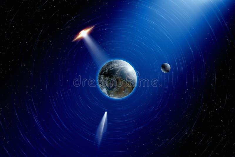 Os planetas enterram no espaço ilustração do vetor