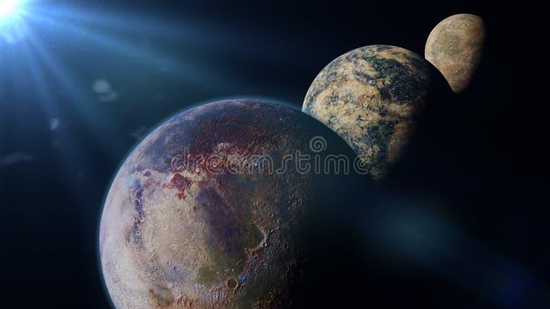 Os planetas iluminados por uma ilustração estrangeira do sol 3d, elementos de Exo desta imagem são fornecidos pela NASA ilustração do vetor