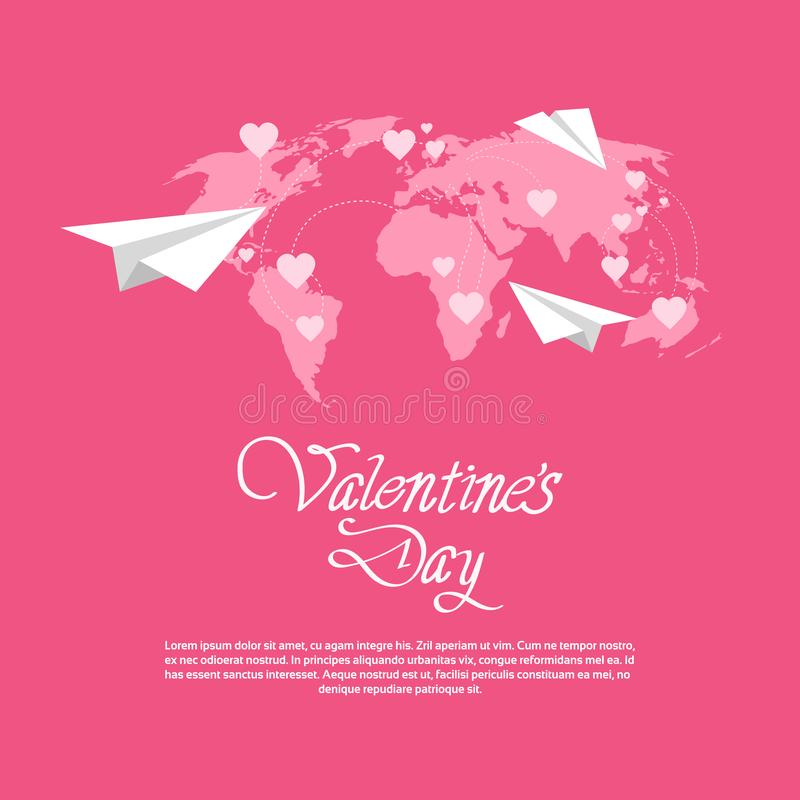 Os planos de papel felizes do conceito do feriado do amor do dia de Valentim sobre o coração do cartão do mapa do mundo dão forma ilustração royalty free