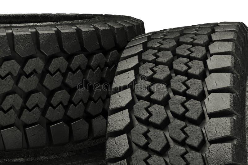 os pneus do inverno da ilustração 3d fecham-se acima do isolado ilustração do vetor