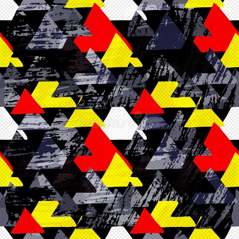 Os polígono coloridos pequenos dos grafittis em um grunge preto do fundo texture o teste padrão sem emenda ilustração royalty free