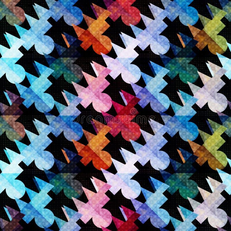 Os polígono coloridos psicadélicos abstraem o teste padrão geométrico sem emenda em um fundo preto ilustração do vetor