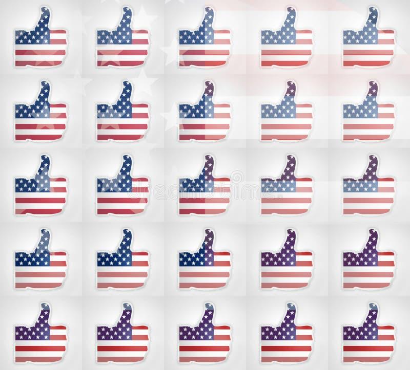 Os polegares acima dos EUA eu gosto d de projetar ilustração royalty free
