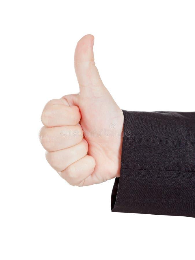 Os polegares da aprovação gostam acima do sinal, gesto de mão caucasiano da criança no branco fotos de stock