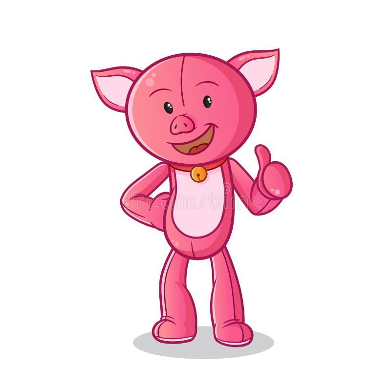 Os polegares da boneca do porco levantam a ilustração da arte dos desenhos animados do vetor da mascote imagens de stock royalty free