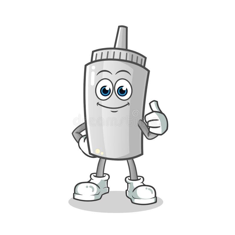 Os polegares da maionese levantam a ilustração dos desenhos animados do vetor da mascote fotografia de stock