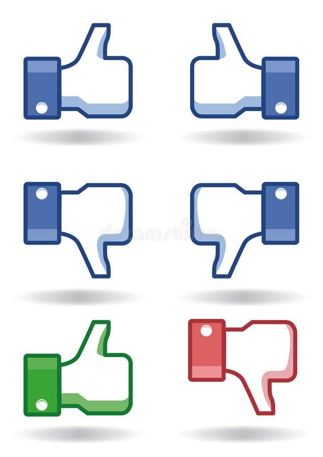 Os polegares de Facebook gostam! /dislike! ilustração royalty free