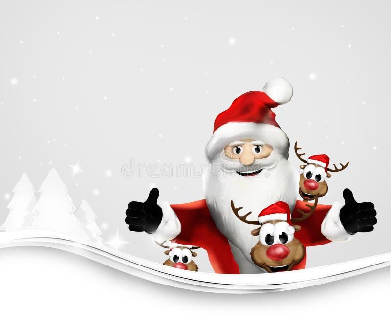 Os polegares de Santa Claus gostam acima d e da rendição das renas 3d ilustração do vetor