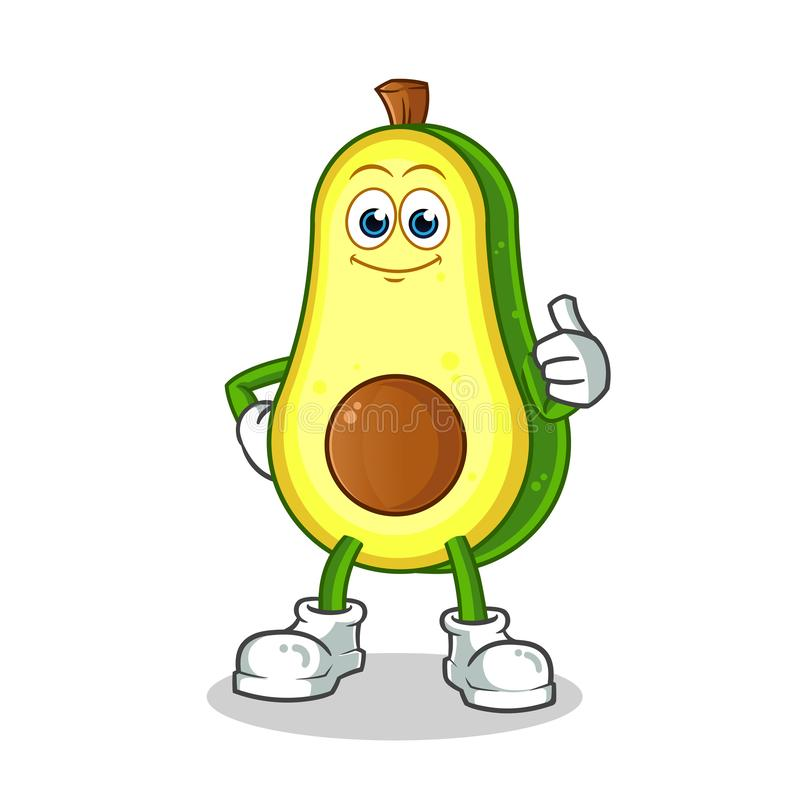 Os polegares do abacate levantam a ilustração dos desenhos animados do vetor da mascote fotos de stock royalty free