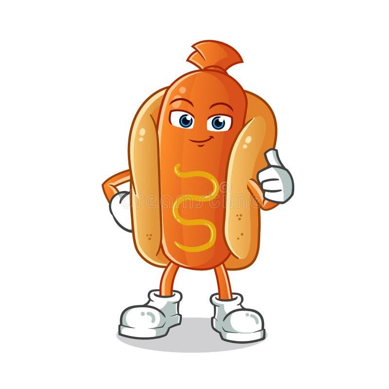 Os polegares do cachorro quente levantam a ilustração dos desenhos animados do vetor da mascote imagens de stock royalty free