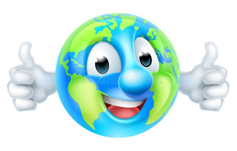 Os polegares do Dia da Terra do mundo dos desenhos animados levantam o caráter do globo ilustração stock
