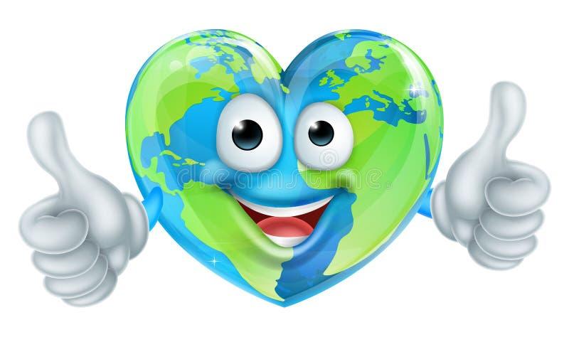 Os polegares do Dia da Terra do mundo dos desenhos animados levantam o caráter do globo do coração ilustração stock