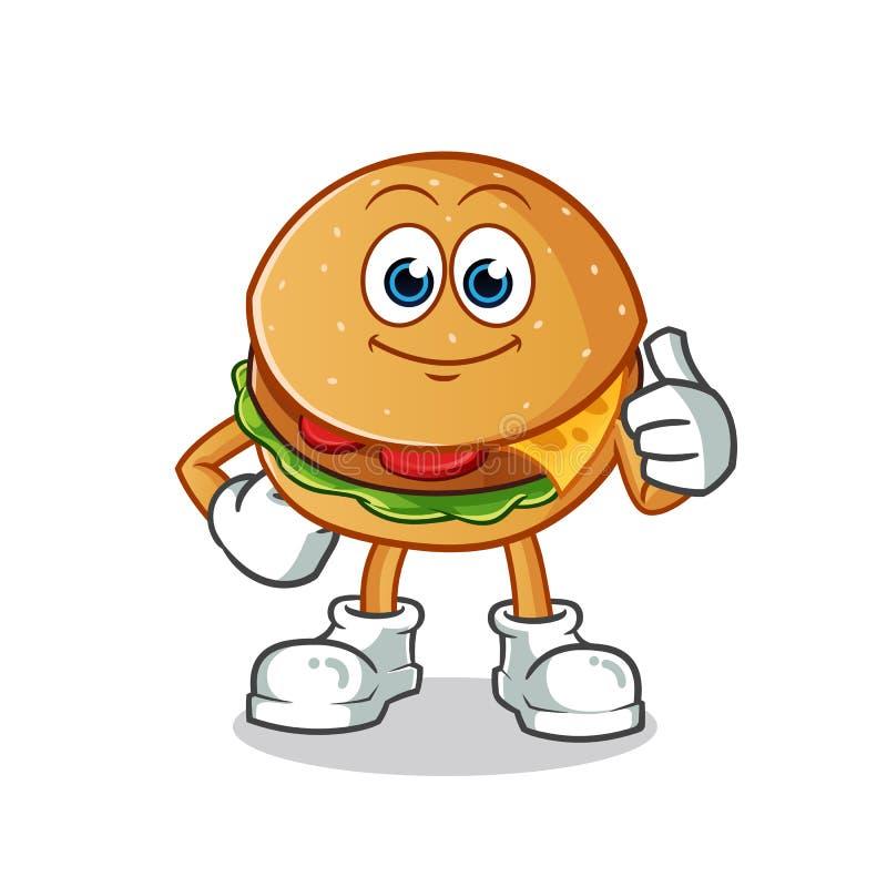 Os polegares do hamburguer levantam a ilustração dos desenhos animados do vetor da mascote imagem de stock