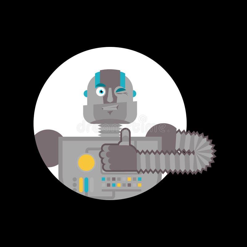 Os polegares do robô levantam e piscadelas Emoji feliz do Cyborg Homem robótico Vecto ilustração stock
