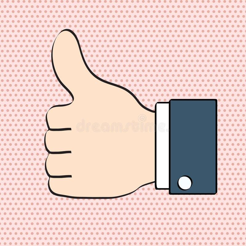 Os polegares gostam acima do ícone para o st cômico retro do pop art social dos trabalhos em rede ilustração royalty free