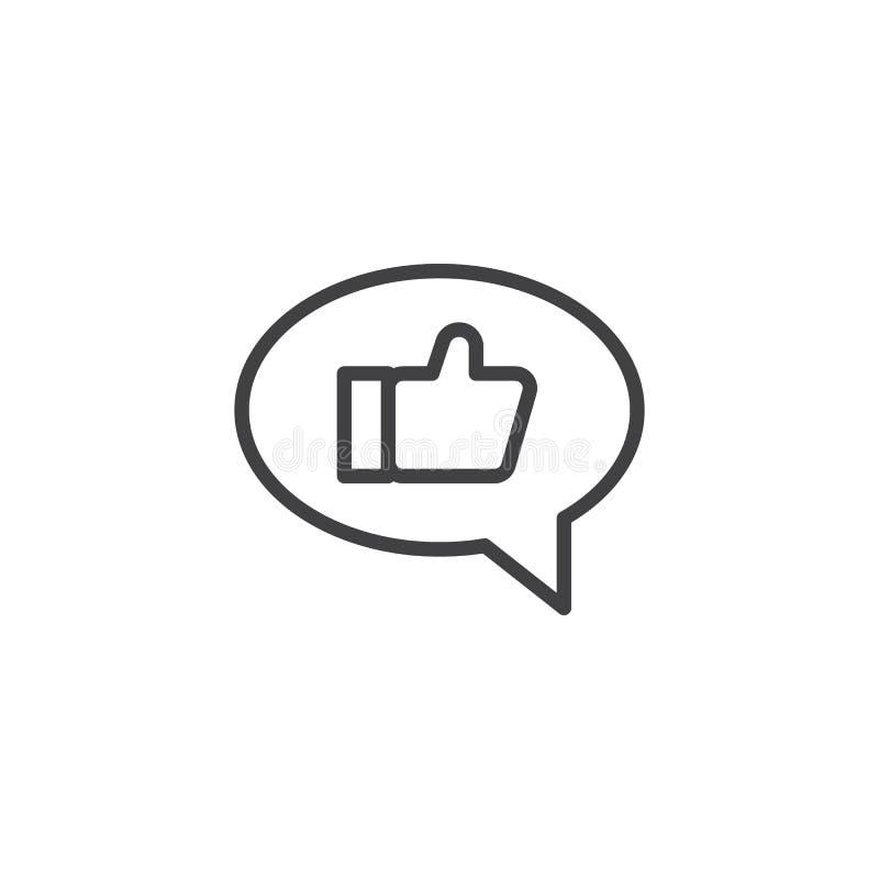 Os polegares gostam acima no ícone do esboço da bolha do discurso ilustração do vetor