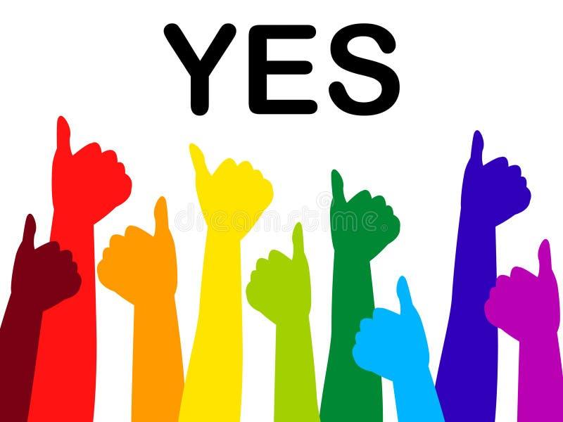 Os polegares indicam acima que concordando afirme e confiança ilustração do vetor