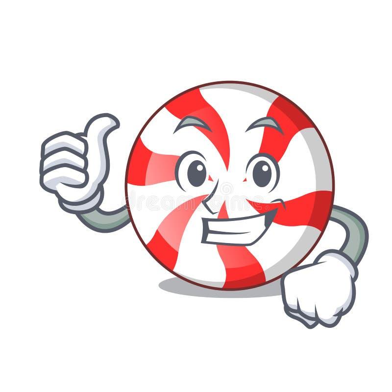 Os polegares levantam desenhos animados do caráter dos doces de pastilha de hortelã ilustração stock