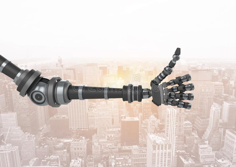 Os polegares levantam a mão do robô pela janela ilustração do vetor