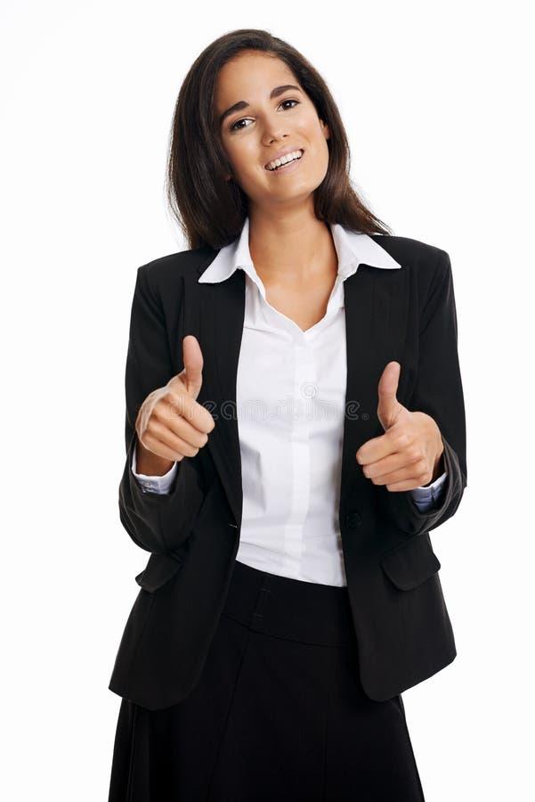 Os polegares levantam a mulher fotografia de stock royalty free